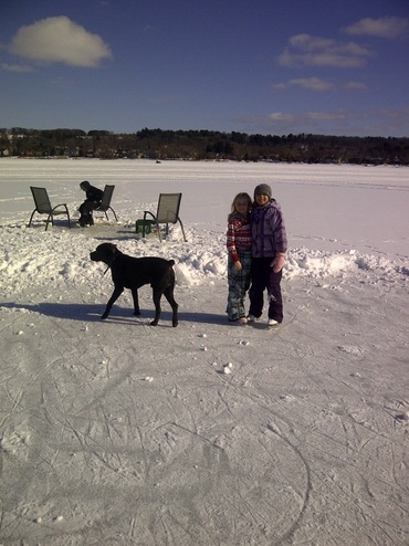 Skating and Ice Fishing on Georgian Bay in front of the rental cottage